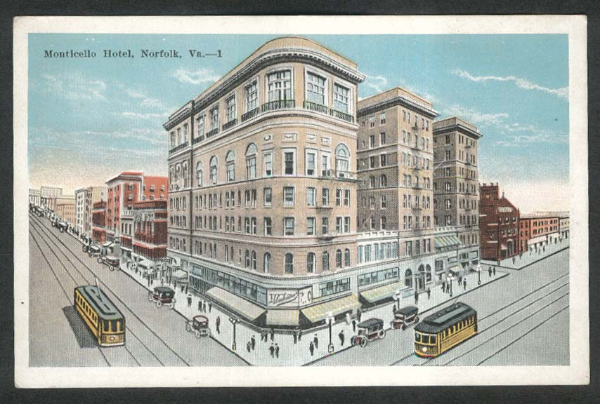 Monticello Hotel Norfolk VA postcard 1920s