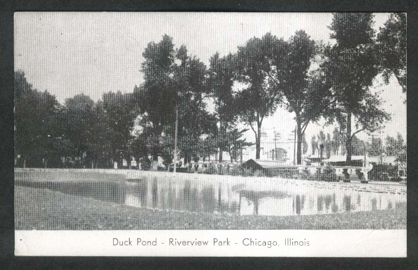 Duck Pond Riverview Park Chicago IL postcard 1920s