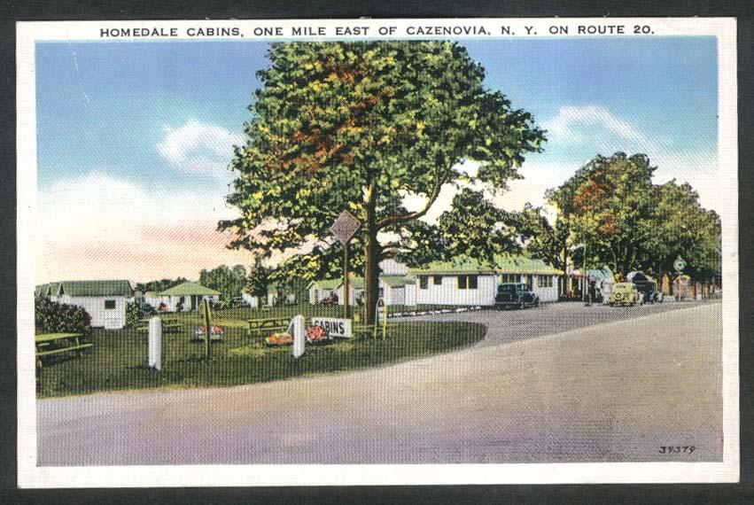 Homedale Cabins Route 20 Cazenovia NY postcard 1930s