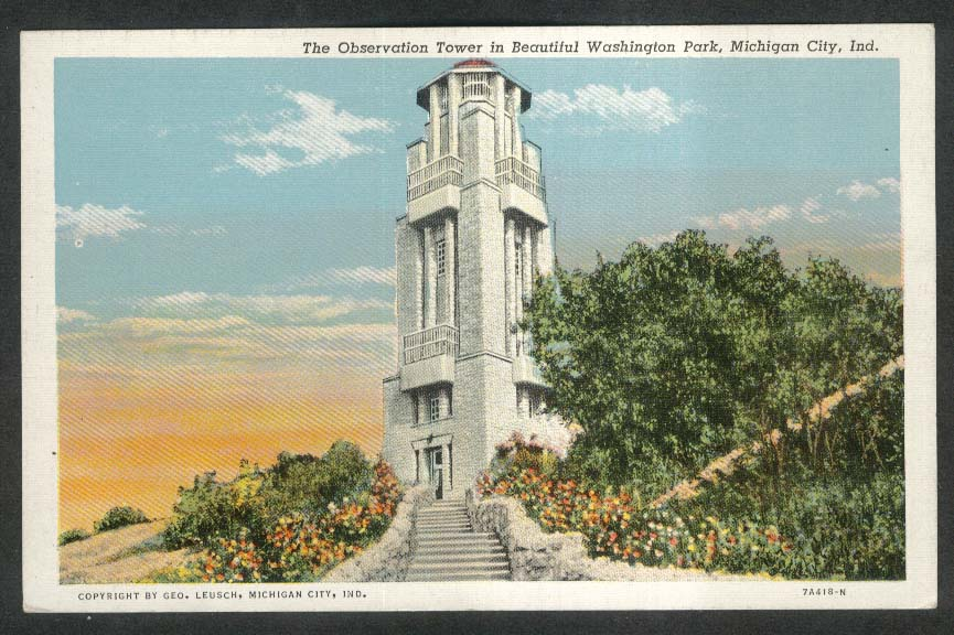 Observation Tower Washington Park Michigan City IN postcard 1930s