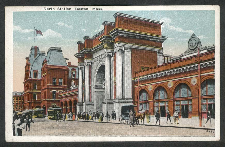 North Station Causeway St Boston MA postcard 1910s streetcar