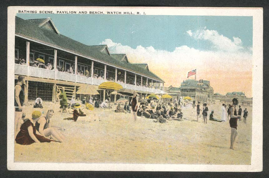 Bathing Scene Pavilion & Beach Watch Hill RI postcard 1910s