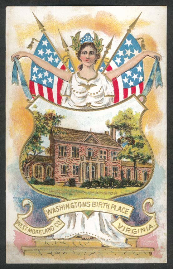 Washington's Birth Place Westmoreland VA embossed postcard 1910s