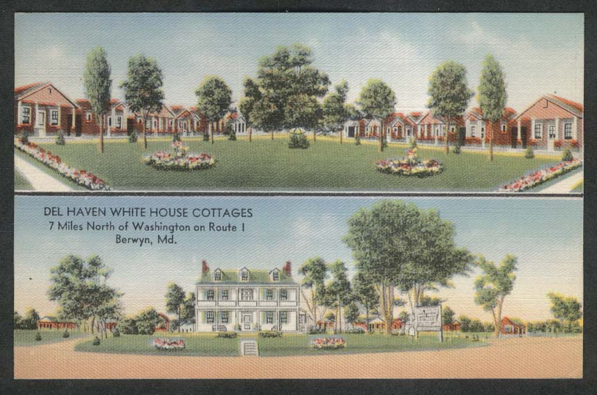Del Haven White House Cottages Berwyn MD postcard 1930s