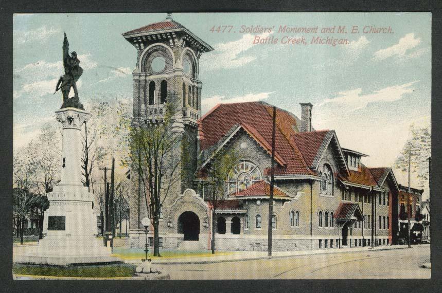 Soldiers Monument Methodist Episcopal Church Battle Creek MI postcard 1910s