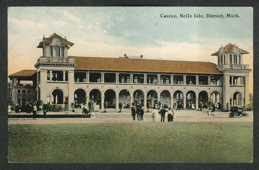 Casino Belle Isle Detroit MI postcard 1911