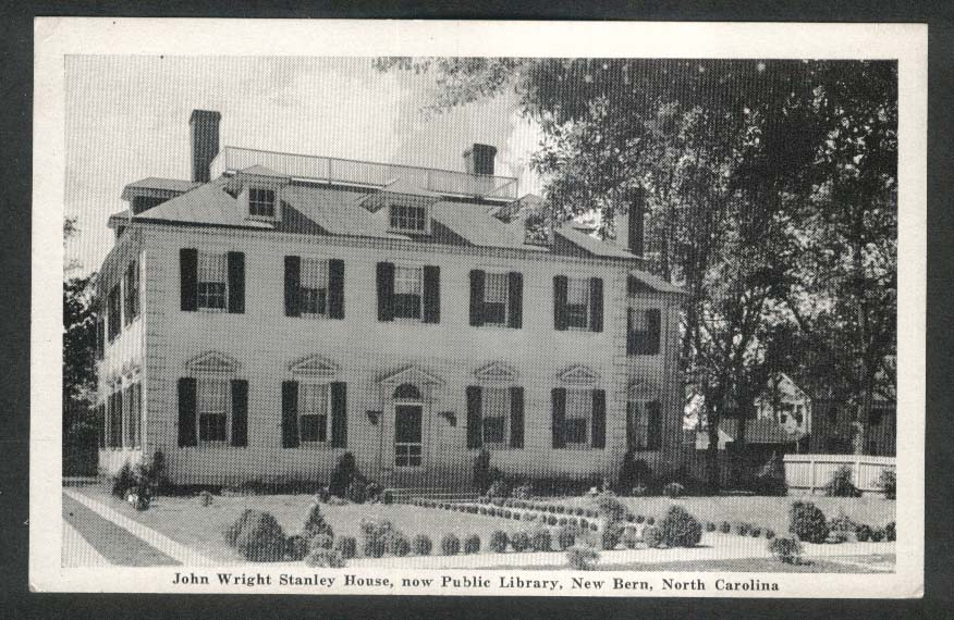 John Wright Stanley House Public Library New Bern NC postcard 1944