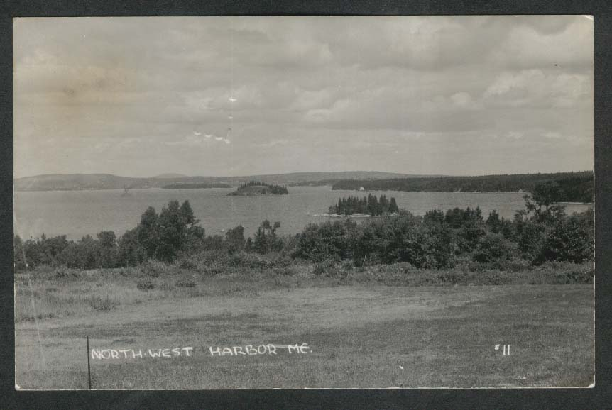 North West Harbor ME RPPC postcard 1938