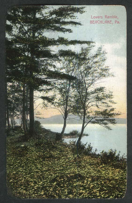Lovers Ramble Beachlake PA postcard 1911