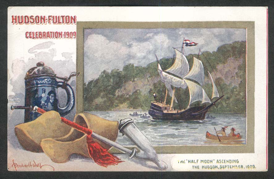 Hudson-Fulton Celebration 1909 Half Moon postcard