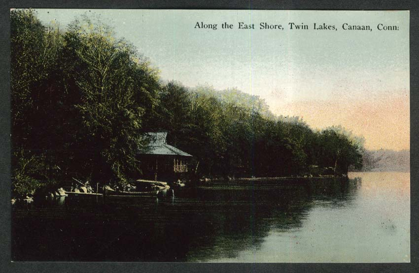 Along the East Shore Twin Lakes Canaan CT postcard 1910s