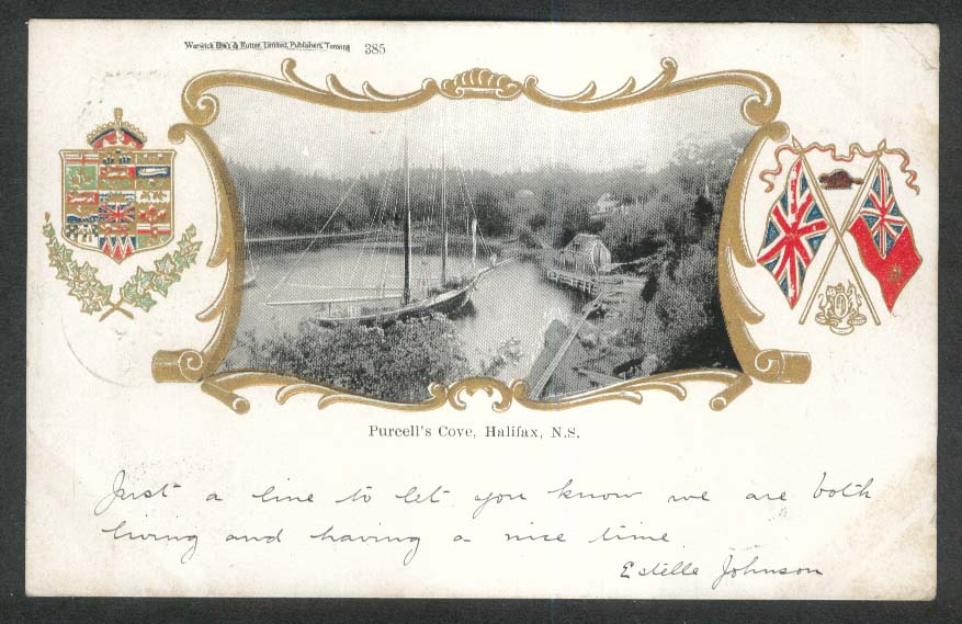Purcell's Cove Halifax Nova Scotia Canada embossed undivided back postcard 1906