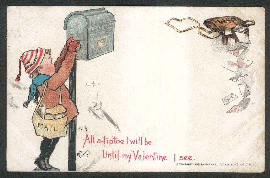 All a-tiptoe I will be Valentine mailbox undivided back postcard 1905