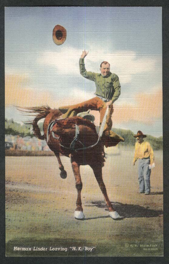 Herman Linder Leaving H K Boy postcard 1930s