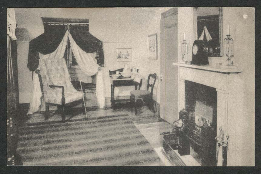 Washington Irving's bedroom Sleepy Hollow Country NY postcard 1950s