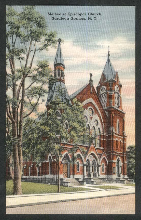 Methodist Episcopal Church Saratoga Springs NY postcard 1930s