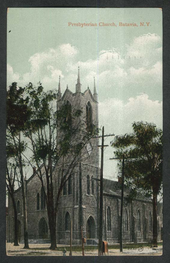 Presbyterian Church Batavia NY postcard 1910