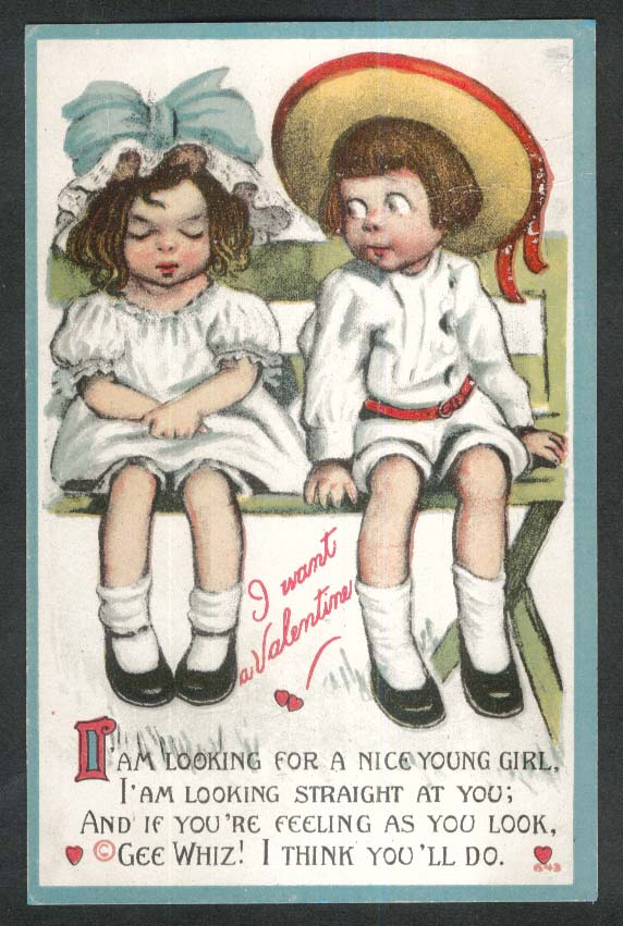 I want a Valentine boy & girl on bench postcard 1911