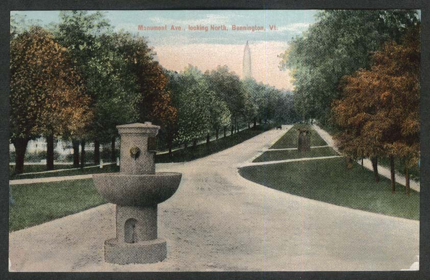 Monument Ave looking North Bennington VT postcard 1920s