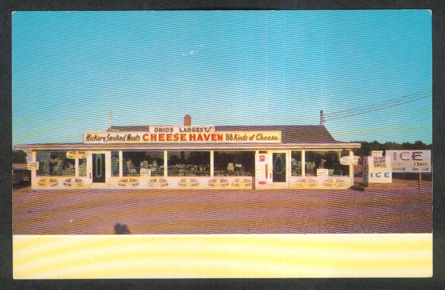 Cheese Haven Ohio's Largest Beef Links Hickory-Smoked Clinton OH postcard 1950s