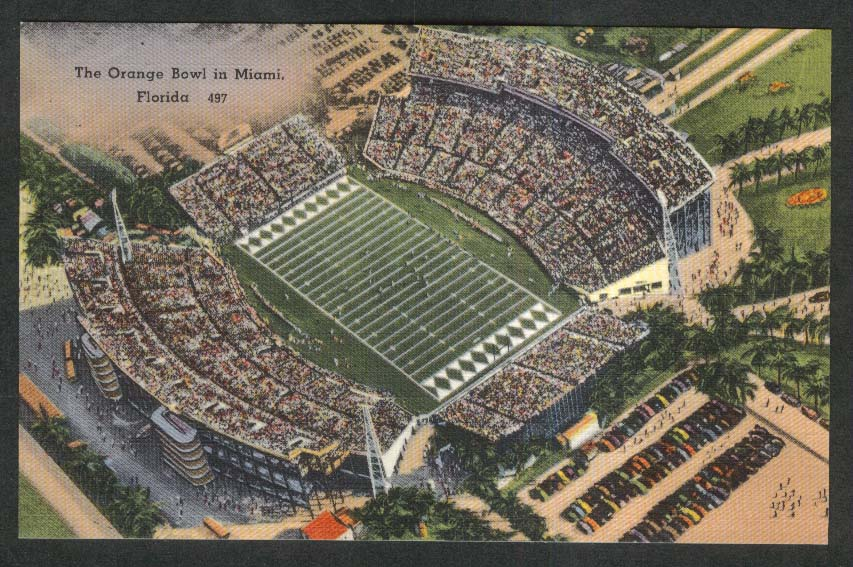 Orange Bowl Miami FL postcard 1930s