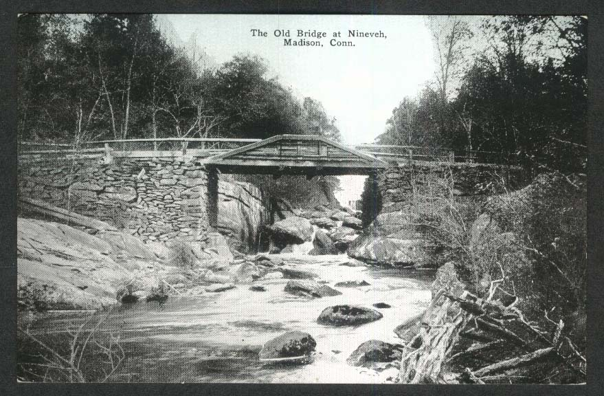 Old Bridge at Nineveh Madison CT postcard 1910s