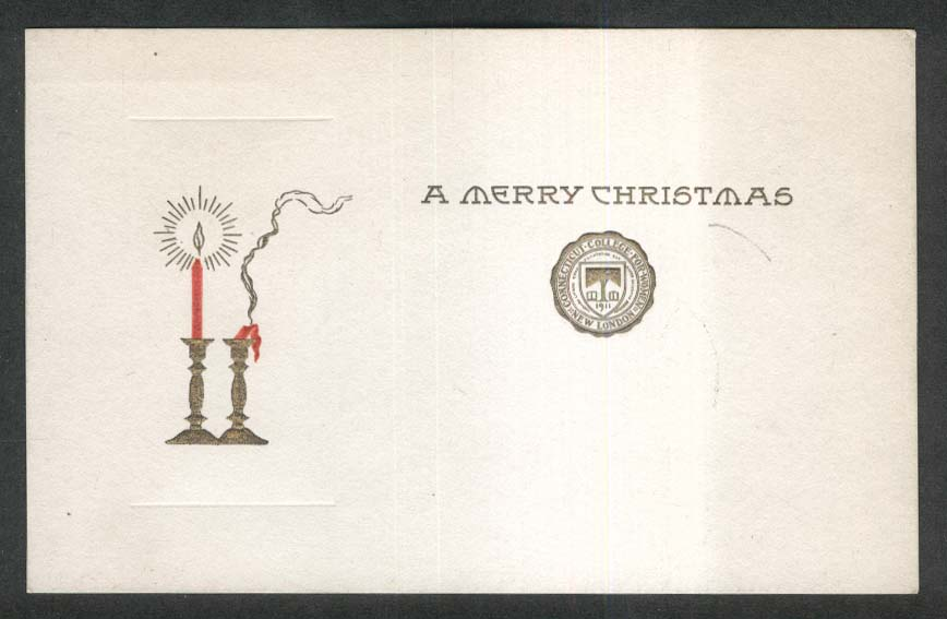 Merry Christmas candle CT College Women New London undivided back postcard 1900s