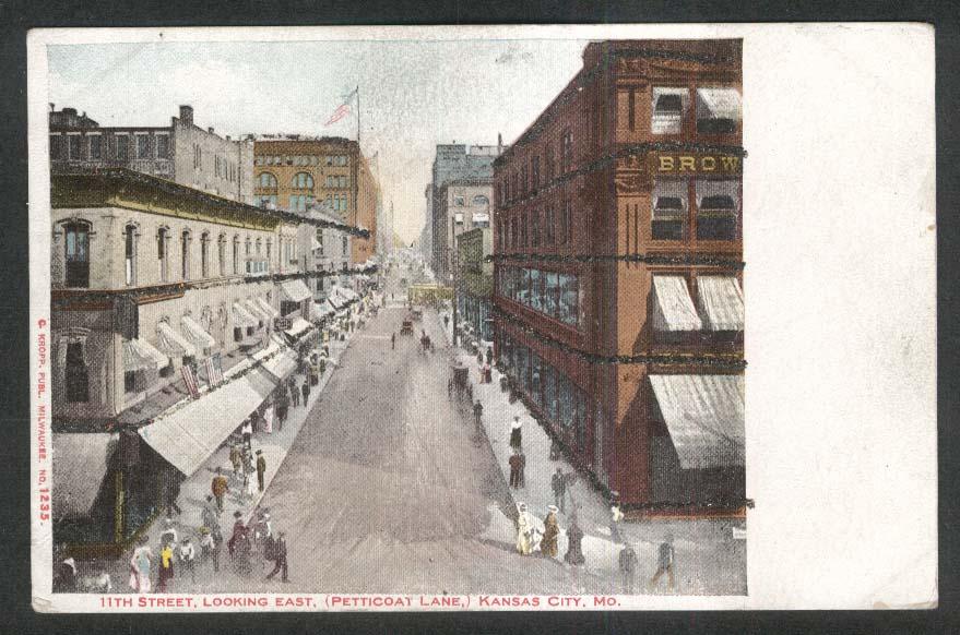 11th Street Petticoat Lane Kansas City MO glitter added undivided back postcard