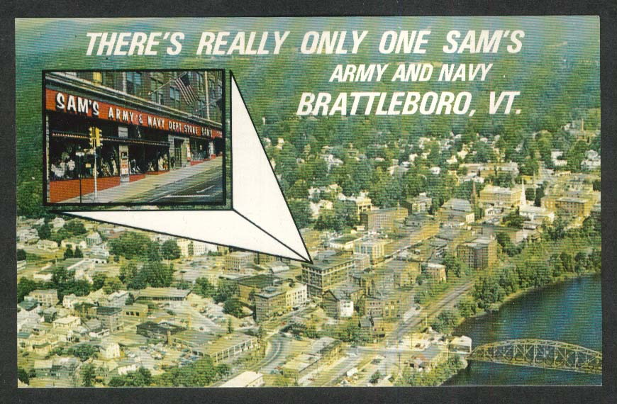 Sam's Army & Navy Department Store Brattleboro VT postcard 1960s