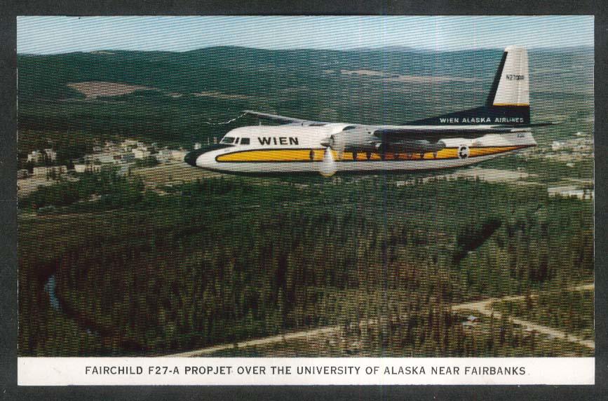 Wien Alaska Airlines Fairchild F27-A Propjet University Fairbanks postcard 1960s