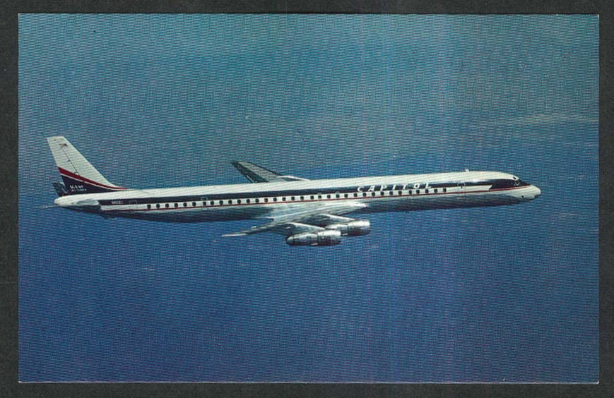 Capitol International Airways Douglas DC-8 postcard 1970s