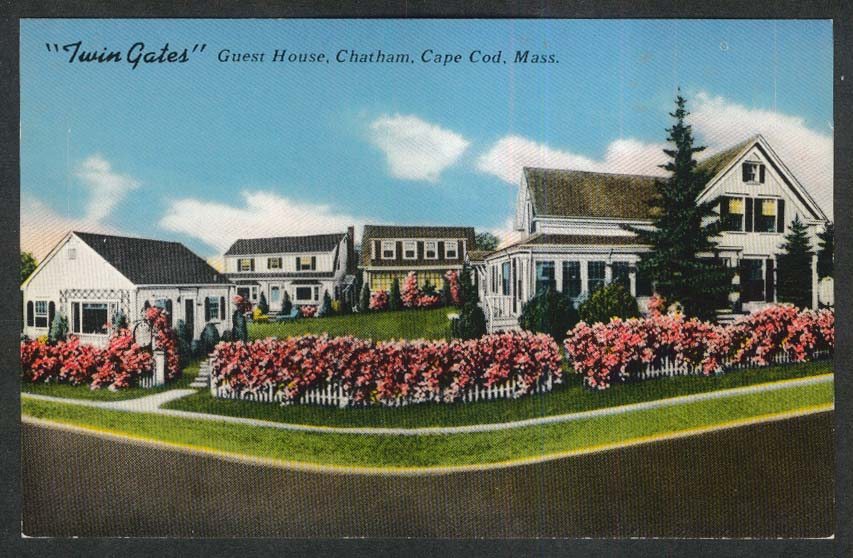 Twin Gates Guest House Chatham Cape Cod MA postcard 1950s