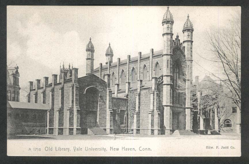 Old Library Yale University New Haven CT undivided back postcard 1900s