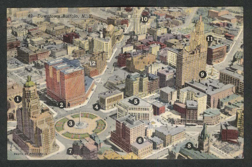 City Hall Hotel Statler McKinley St Joseph's Downtown Buffalo NY postcard 1930s