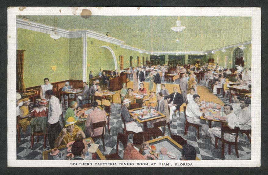 Southern Cafeteria Dining Room at Miami FL postcard 1937