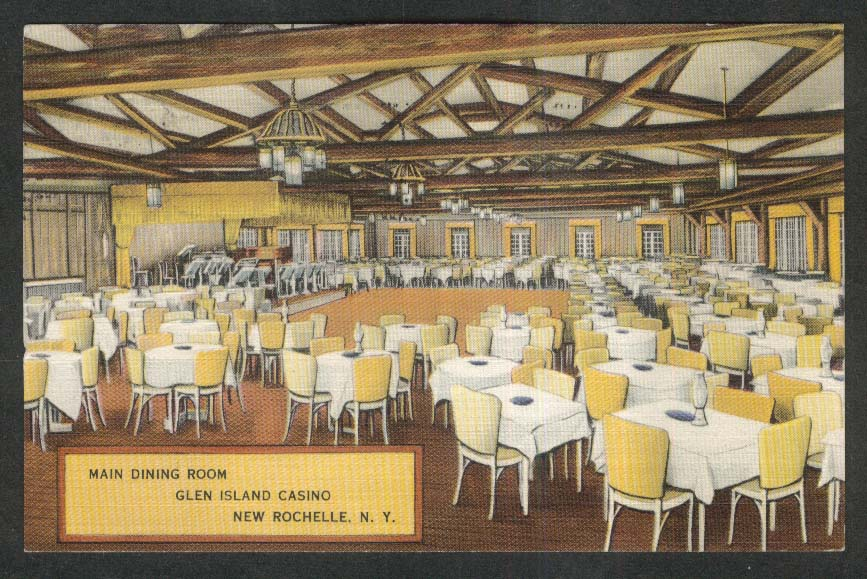 Main Dining Room Glen Island Casino New Rochelle NY postcard 1941