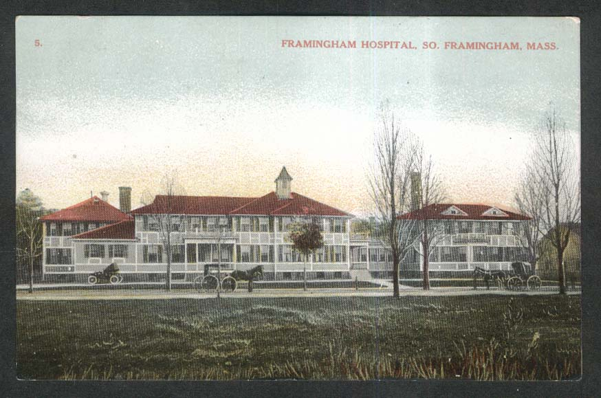 Framingham Hospital South Framingham MA postcard 1908
