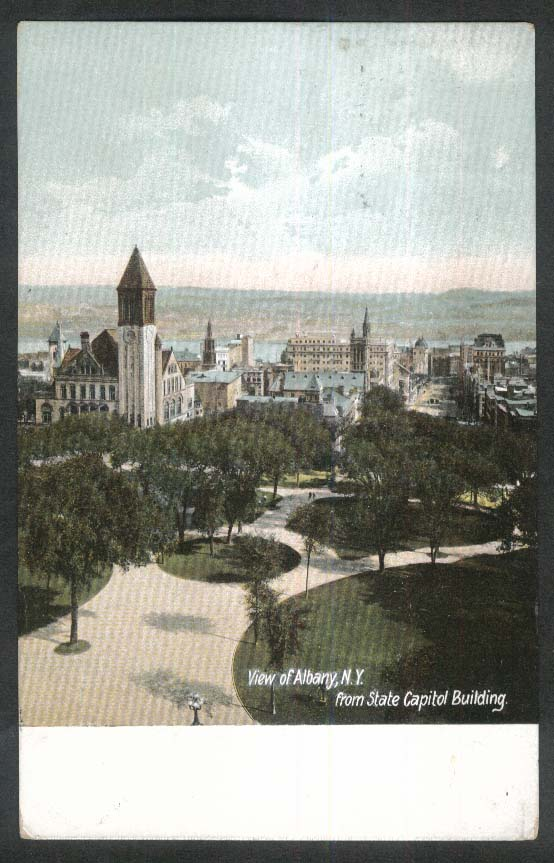 View of Albany NY from State Capitol Building postcard 1912