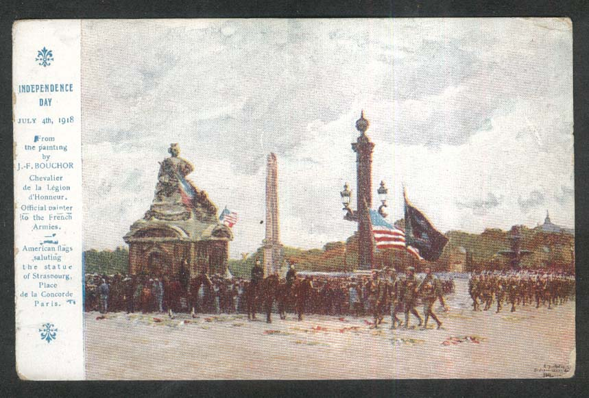 Independence Day July 4th 1918 Bouchor American Red Cross postcard Strasbourg