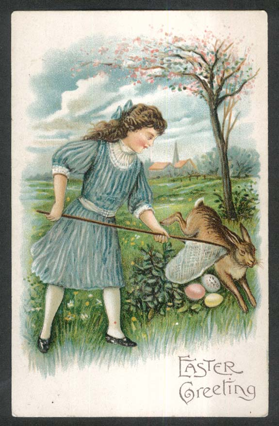 Easter Greeting girl netting eggs with rabbit embossed postcard 1910s