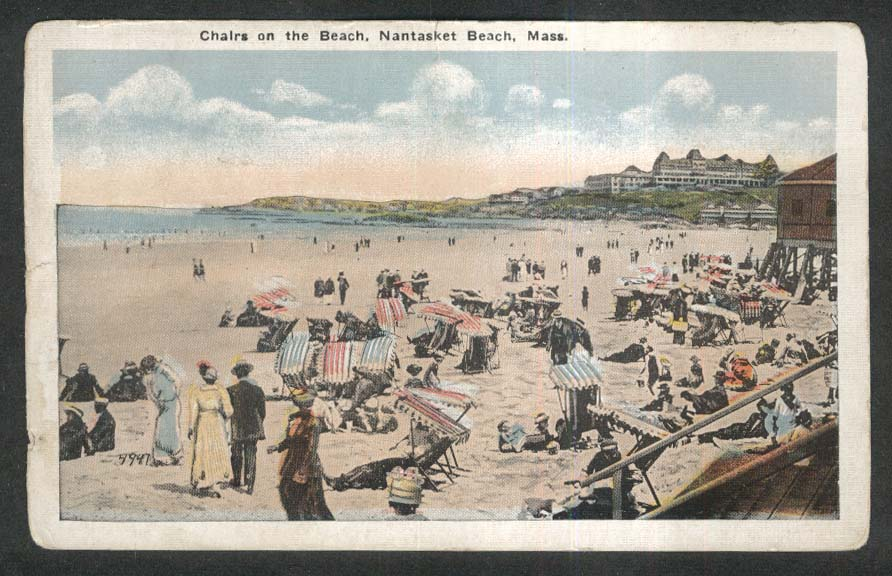Chairs on the Beach Nantasket Beach MA postcard 1910s