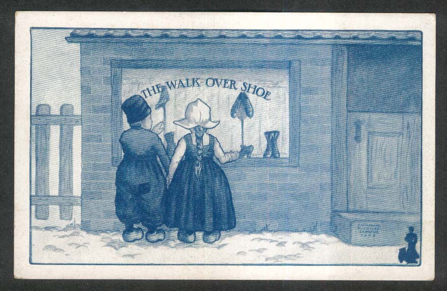 The Walk-Over Shoe wooden clogs advertising postcard 1910s