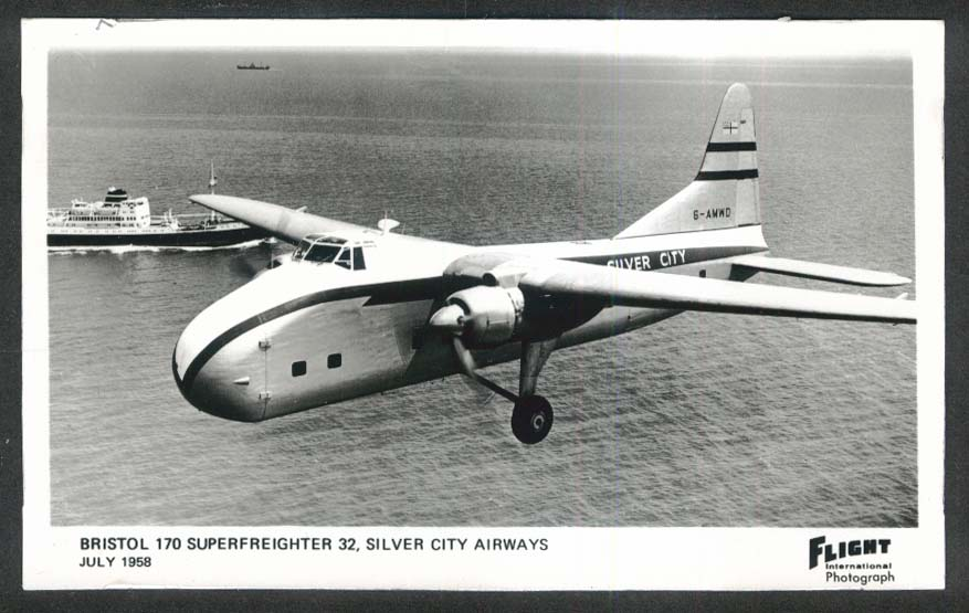 Bristol 170 Superfreighter 32 Silver City Airways RPPC postcard 1958 Flight