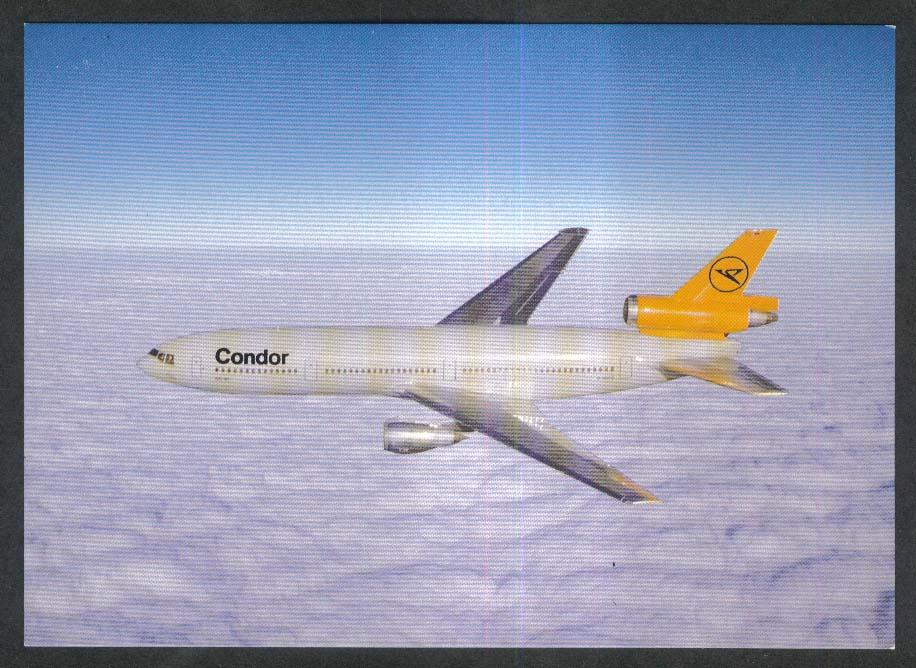 Condor DC-10-30 plane postcard 1980s