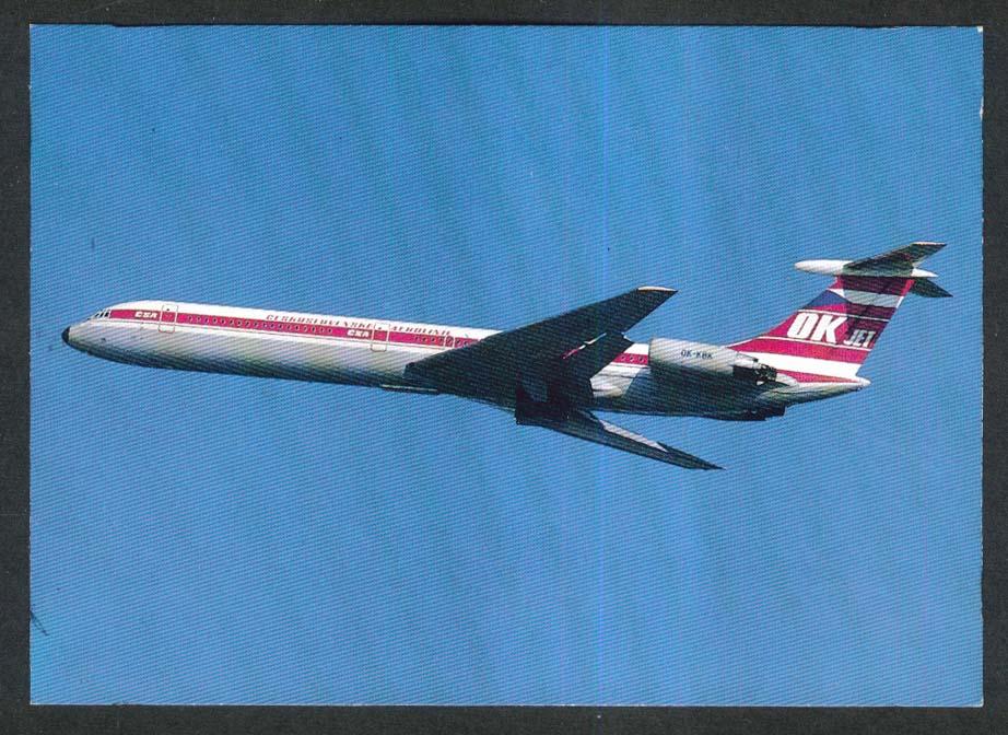 CSA Czechoslovak Airlines Ilyushin Il-62 OK Jetpostcard 1970s