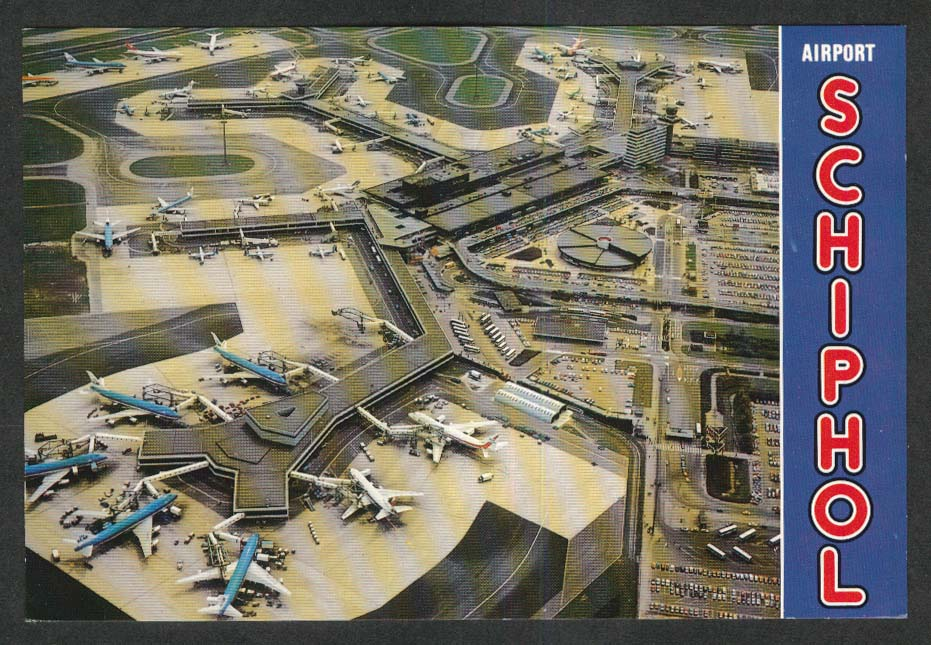 Boeing 747 jumbo jets at terminal Airport Schiphol Holland Amsterdam postcard