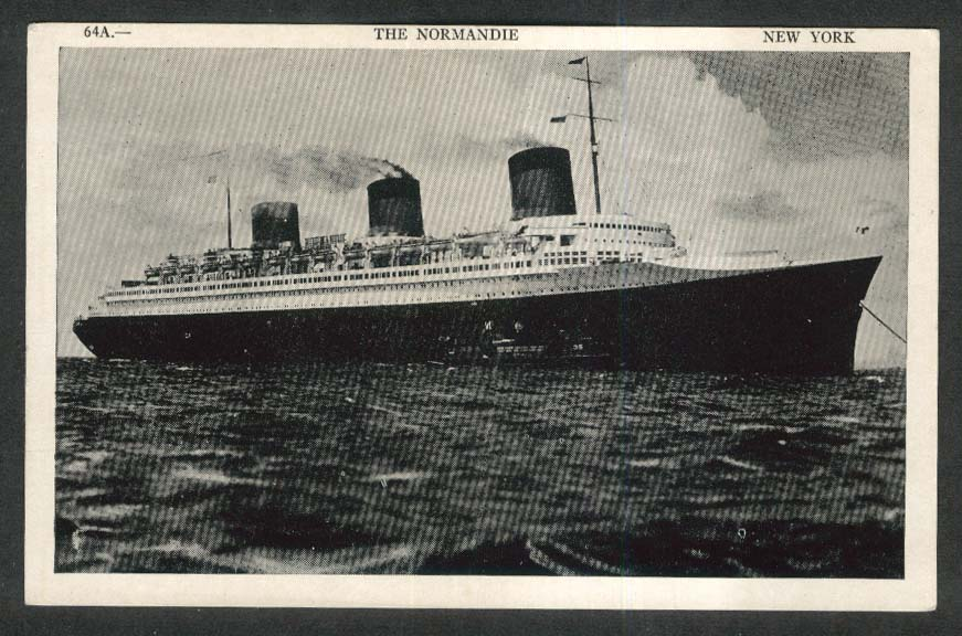SS Normandie ocean liner New York postcard 1930s