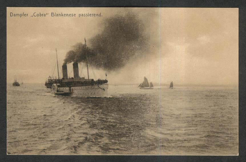 Steamer Cobra passing Blankenese Germany postcard 1900s