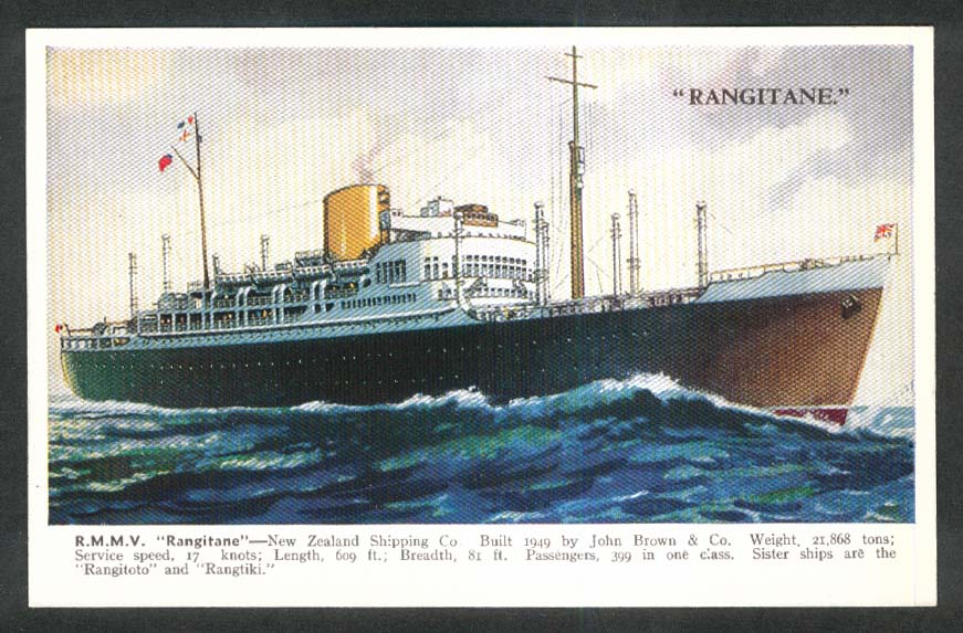 RMMV Rangitane New Zealand Shipping Co steam ship postcard 1940s