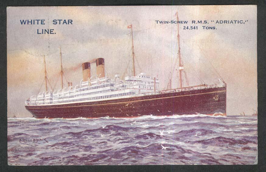White Star Line Twin-Screw RMS Adriatic postcard 1900s